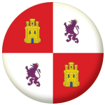 Castile and Lyon Flag 25mm Pin Button Badge.